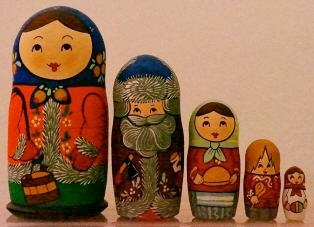 Russian Doll Happy Family Winter Time