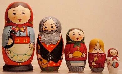 Russian Doll Happy Family Black Rooster